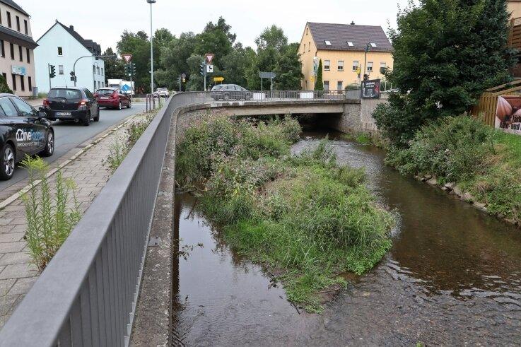 An der Hirschbrücke B173/B180 wird der Platz fürs Wasser durch Wildwuchs immer weniger. Diesen Monat indes kam die Flut aus der Kanalisation.