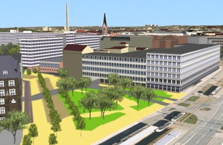 """<p class=""""artikelinhalt"""">Blick auf den Johannisplatz (vorn): Die Simulation zeigt eine Möglichkeit der Bebauung beispielsweise mit weiteren Gebäuden zwischen Schocken und früherer Bundesbank. </p>"""