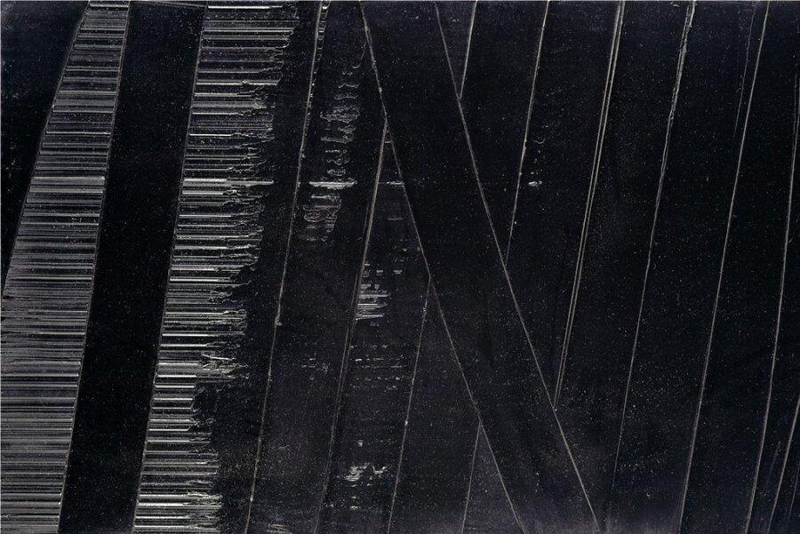Die Farbe Schwarz in Strukturen zergliedert: Pierre Soulages Bild -Soulages-Peinture 102×165 cm-19-novembre-1990.