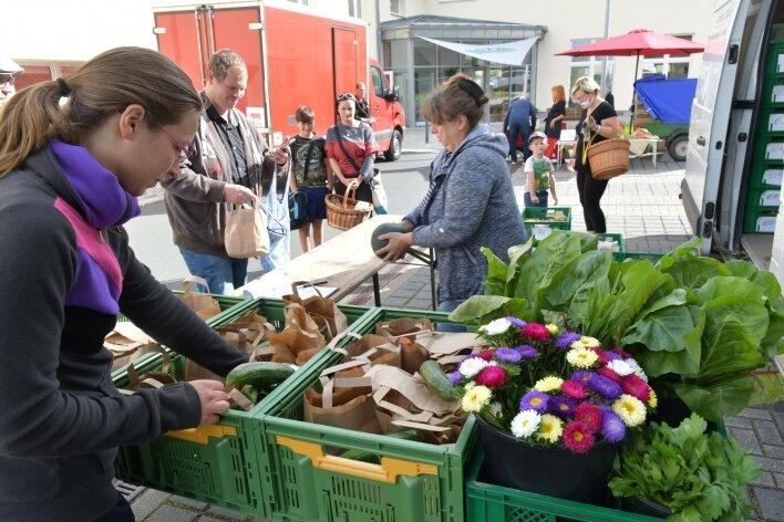Die Marktschwärmer befindet sich seit drei Monaten auf dem Gelände der Wohnungsgenossenschaft in Freiberg. Im Bild der Stand von Dorothea Münch aus Radebeul mit Blumen, Gemüse und Kräutern.