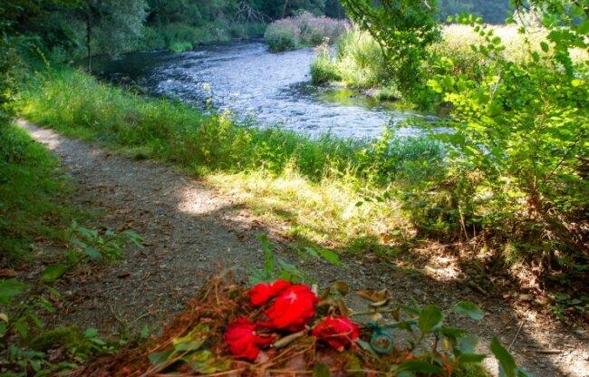 Unterhalb der Burgruine Liebau an der Weißen Elster erinnern Rosen an den Fund des toten Babys.