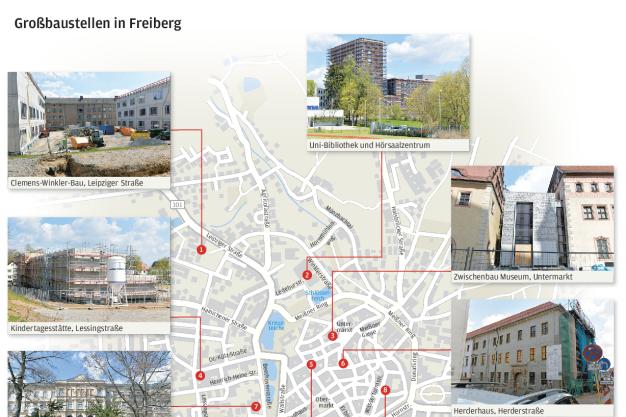 Die Großbaustellen von Freiberg auf einem Blick