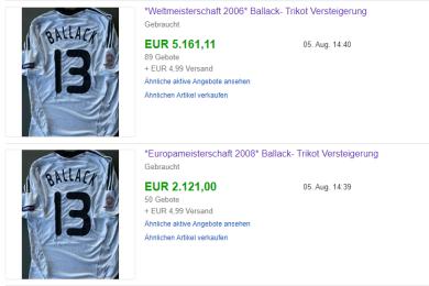 Allein diese zwei Nationalmannschaft-Trikots brachten über 7000 Euro ein.