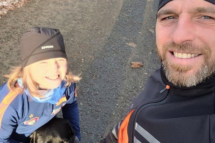 Patrick Janowitz mit Tochter Haley auf einer ihrer Laufrunden.
