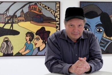 """Der Chemnitzer Künstler Andreas Schüller zeigt in der Galerie Burk-art unter dem Titel """"Figuren aus den Gebirge"""" etwa 40 großformatige Bilder."""
