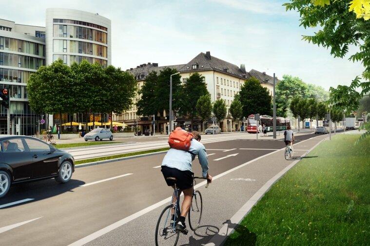Auch die Theaterstraße - hier mit Straßenbahn in der Mitte - soll den Plänen zufolge mit einer Fahrspur in jede Richtung auskommen. Ausgenommen sind Kreuzungen und Einmündungen.