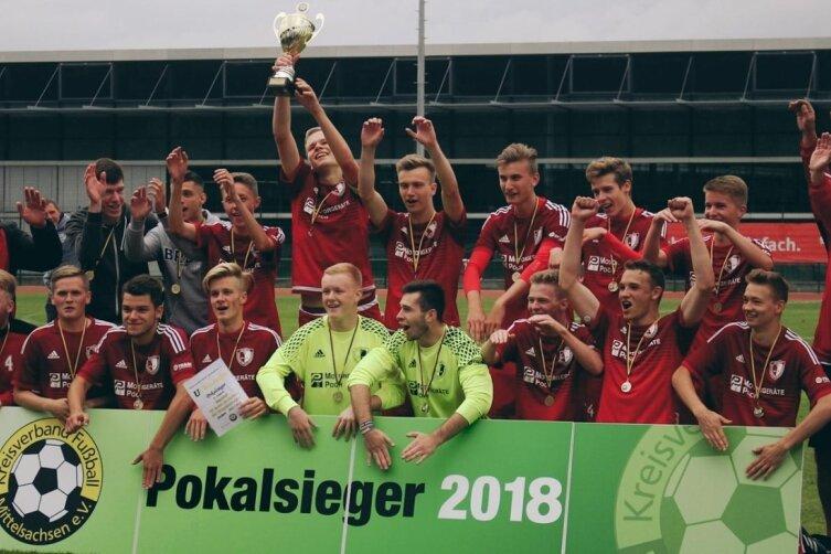 2018 haben die jungen Wilden des SSV Königshain-Wiederau den Kreispokal bei den A-Junioren gewonnen. Es war einer ihrer vielen Erfolge im Jugendfußball unter Trainer Holger Blüher (r.). Von den damaligen Talenten profitieren jetzt auch die Männer.