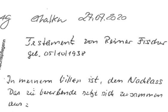 Ein kleiner Auszug des handschriftlichen Testaments, welches neben anderen Erben auch die Gemeindeverwaltung Gornsdorf und die evangelisch-luthe-rische Kirchgemeinde großzügig bedacht hat.