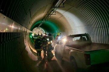 Bei der Übung ging es um einen Unfall in einem Tunnel.