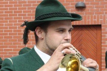 Christian Ullmann, Chef der Original Grünhainer Jagdhornbläser, ist beim Turmkonzert zu Gast.