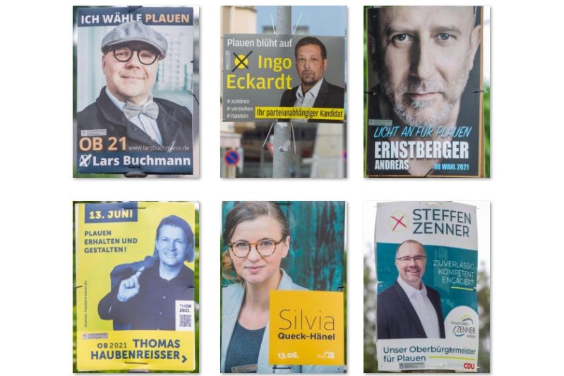 Die Wahlplakate von sechs der sieben OB-Kandidaten in Plauen.