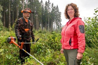 Nachdem Forstwirt Andi Flade eine vor fünf Jahren aufgeforstete Fläche freigeschnitten hat, verschafft sich Christiane Müller gemeinsam mit ihm einen Überblick über den Zustand der heranwachsenden Nadelbäume.