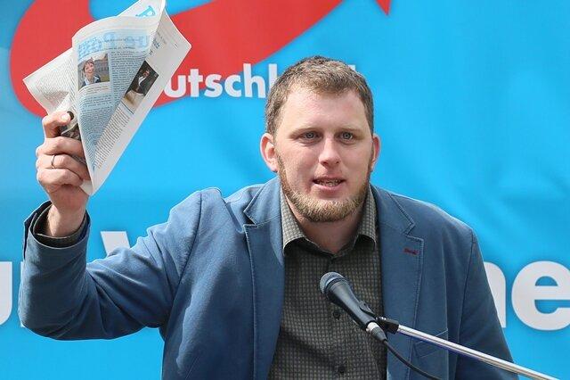 Benjamin Przybylla bei einer Kundgebung in Zwickau am 1. Mai