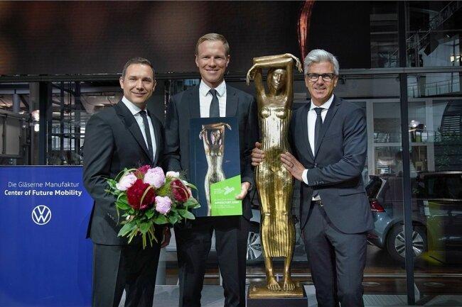 Sachsens Unternehmer des Jahres: Dr. Roman Belter, Dr. Rolf Kluge und Dr. Alexander Trommen (von links) von der Appsfactory GmbH.