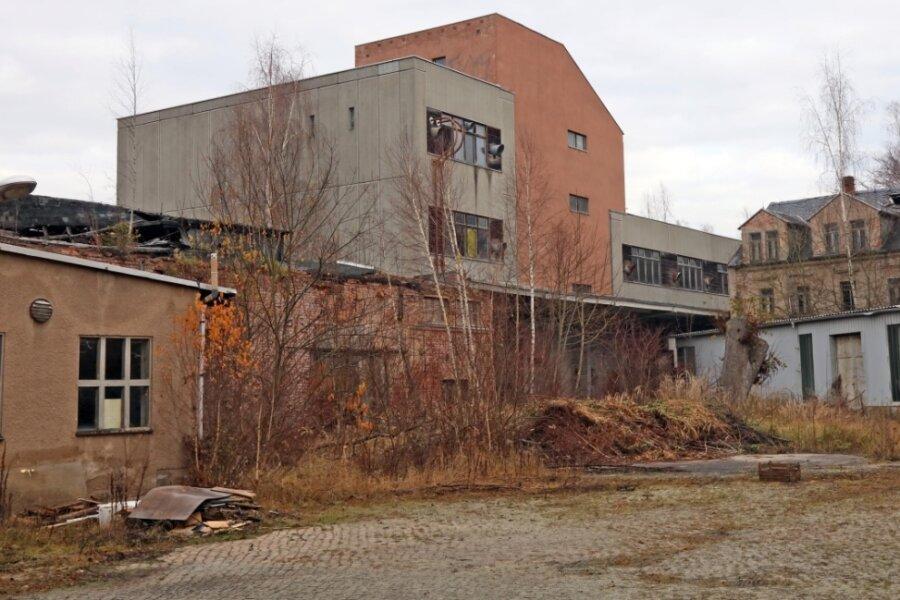Blick auf die ehemalige Kunstlederfabrik im Kirchberger Ortsteil Saupersdorf. Die Industriebrache soll im Januar abgerissen werden.
