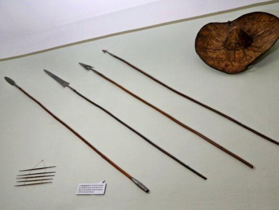 Die Afrikanischen Wurfspeere im Treppenhaus sind nur ein Teil der Objekte, deren Sammlungsgeschichte das Naturalienkabinett Waldenburg mit Hilfe eines wissenschaftlichen Mitarbeiters aufklären möchte.