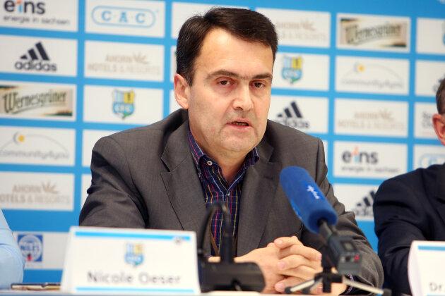 Mathias Hänel bei einer CFC-Pressekonferenz im März 2017