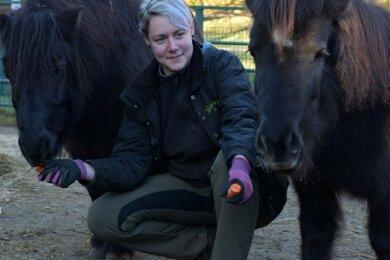 Im Tierpark Freiberg ist Mitarbeiterin Lisa Härtel mit den Ponys Idefix (l.) und Paloma unterwegs. Übrigens hat Idefix, der als Moppelpony bekannt wurde, kaum noch Gewichtsprobleme.