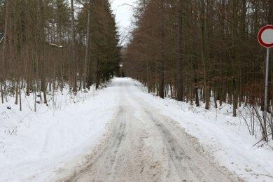 Wenn im Mai die Bauarbeiten in Rödlitz starten, soll die Umleitung auch über diesen Weg führen. Offenbar muss hier noch etwas geschehen
