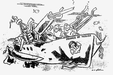 """Das britische Schlachtschiff """"Prince of Wales"""" wurde im 2. Weltkrieg von japanischen Marineluftstreitkräften angegriffen und im Dezember 1941 versenkt. Erich Ohser karikierte das Kriegsgeschehen mit dieser Zeichnung, die in der Zeitschrift """"Das Reich"""" erschien."""