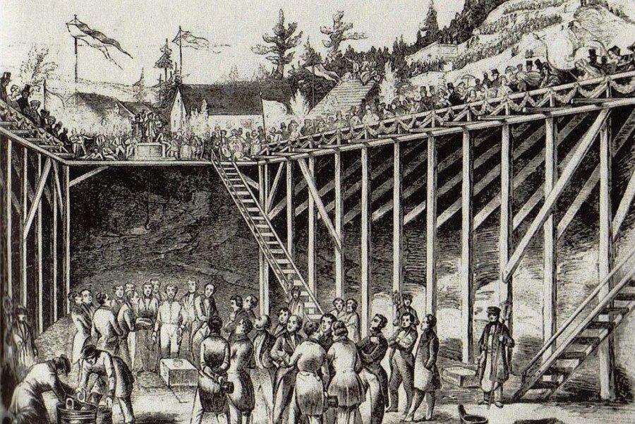 """Die """"Illustrirte Zeitung"""" aus Leipzig veröffentliche auf der Titelseite ihrer Ausgabe vom 27. Juni 1846 diese Grafik von der """"Grundsteinlegung der Göltzschtalüberbrückung am 31. Mai"""". Reproduktionen: Falk Neumann (2)"""