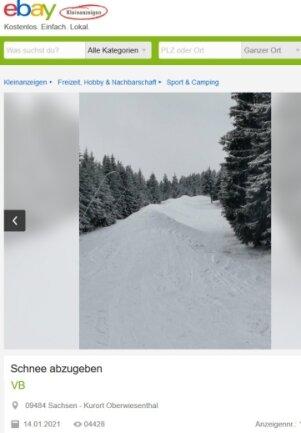 Unterm Synonym Schneemann wird bei Ebay gerade Schnee vom Fichtelberg angeboten.