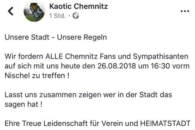 """Der Aufruf von """"Kaotic Chemnitz"""" bei Facebook."""