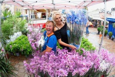 Mit lauter Stimme und Charme bieten die Geschwister Antje und Roberto Saarloos Pflanzen und Blumen aus Holland an. Ihr Familienbetrieb existiert seit 58 Jahren.