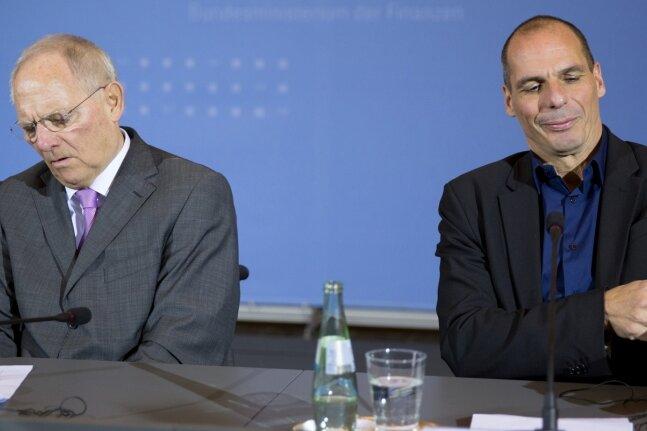 Zwei Männer, zwei Welten: Wolfgang Schäuble (links) und Gianis Varoufakis bei einer Pressekonferenz im Februar in Berlin.