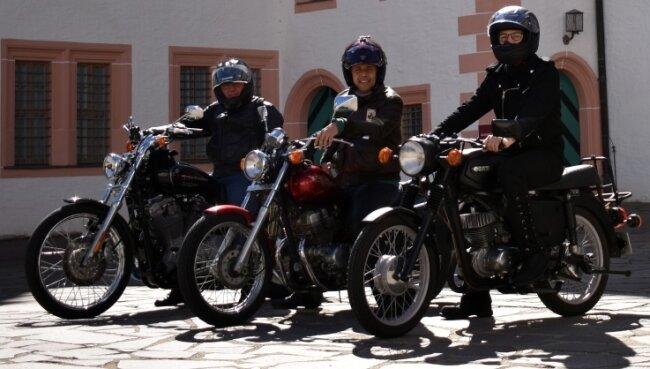 Uwe Gahut, Arne Sigmund und Stephan Drechsler (v. l.) sind die beiden kürzeren Strecken bereits abgefahren und waren begeistert. Auch die Gipfelstürmer-Tour wollen sie bald in Angriff nehmen.