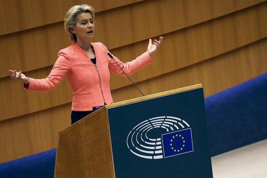 Hat den tatsächlichen Kampf noch vor sich: Kommissionspräsidentin Ursula von der Leyen sprach zur Lage der Europäischen Union.