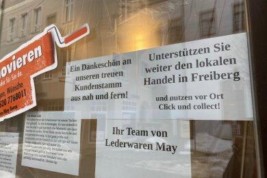 Ein Schaufenster in der Freiberger Altstadt.