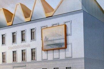 So soll die Stadtbibliothek aussehen, wenn sie fertig ist. Das mehrfach geneigte, polygonale Dach, das mit Zinkblech eingedeckt werden soll, hat seinen Preis.Raum und Bau, Repro: Falk Bernhardt/Archiv