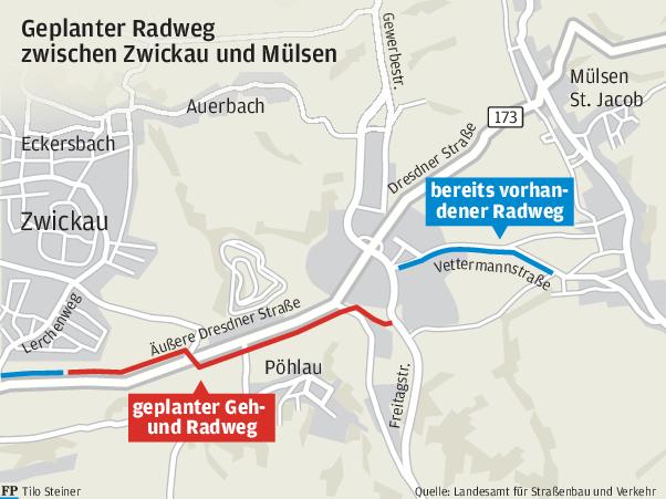 Radweg zwischen Zwickau und Mülsen hängt weiter in der Warteschleife