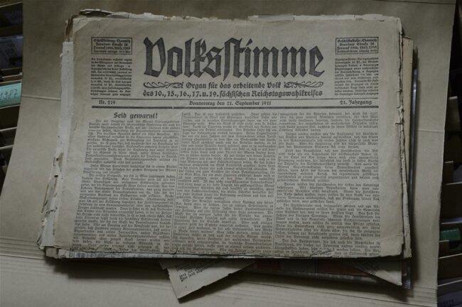Auch alte Ausgaben der Volksstimme und andere Veröffentlichungen sind im Archiv zu finden.