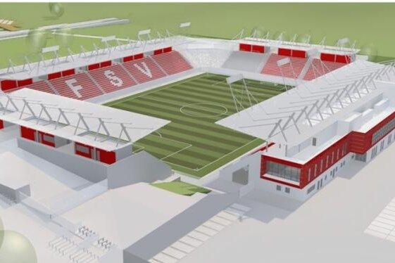 So ähnlich könnte es aussehen: Der erste Referenzentwurf für das neue Zwickauer Fußballstadion.