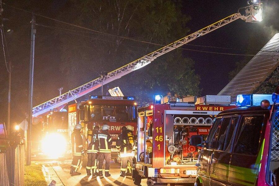 Etwa 60 Feuerwehrleute aus fünf Wehren waren am Freitagabend im Muldenberg-Ortsteil Hammerbrücke im Einsatz, um den Brand eines Einfamilienhauses zu löschen.