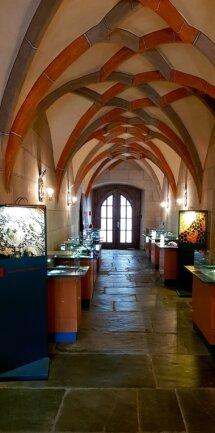 Im Kreuzgewölbegang des Plauener Spitzenmuseums ist zurzeit eine Sonderausstellung zum Thema Margaretenspitze zu sehen.