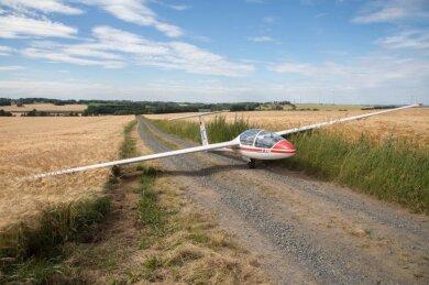 Gegen 15 Uhr ist dieses Segelflugzeug am Sonnabend in einem Getreidefeld bei Berthelsdorf in der Gemeinde Weißenborn gelandet. Der 19-jährige Pilot war am Mittag in Riesa-Canitz zu einem Rundflug gestartet. Aufgrund ungünstiger Thermik konnte er jedoch nicht zu dem Flughafen zurückkehren und musste sich für eine sogenannte Außenlandung entscheiden.