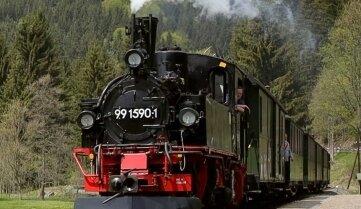 Die Preßnitztalbahn ist auch an allen Wochenenden im August unterwegs.
