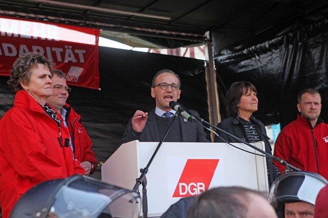 Die Rede von  Bundesjustizminister Heiko Maas (SPD) wurde von Trillerpfeifen und Buh-Rufen begleitet.