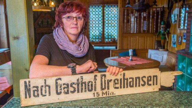 Kathrin Gehler hat den Gasthof Dreihansen in Lößnitz viele Jahre geleitet. Mittlerweile hat sie den Betrieb aufgegeben.