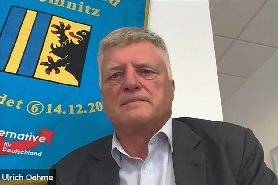 """Ulrich Oehme im Videointerview mit der """"Freien Presse"""". In dem 43-minütigen Gespräch sprach der Bundestagsabgeordnete aus Chemnitz auch über die Sicherheitslage in der Innenstadt und seine Ziele, an deren Umsetzung er sich nach einer möglichen Amtszeit messen lassen will."""