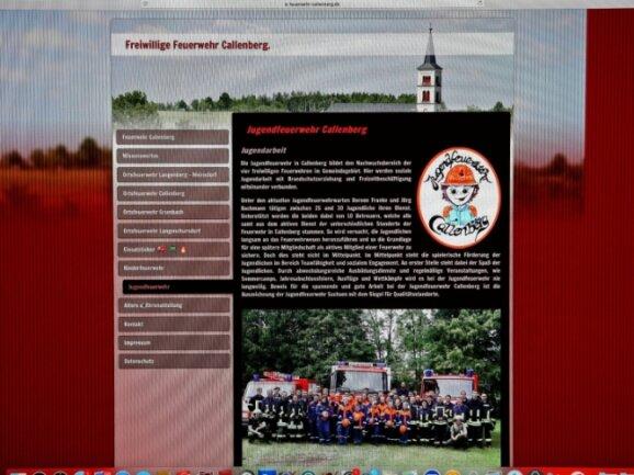 Viel Rot und viele Fakten - so zeigt sich die neue Internetseite der Callenberger Wehr. Auch der Jugendwehr ist ein Kapitel gewidmet.