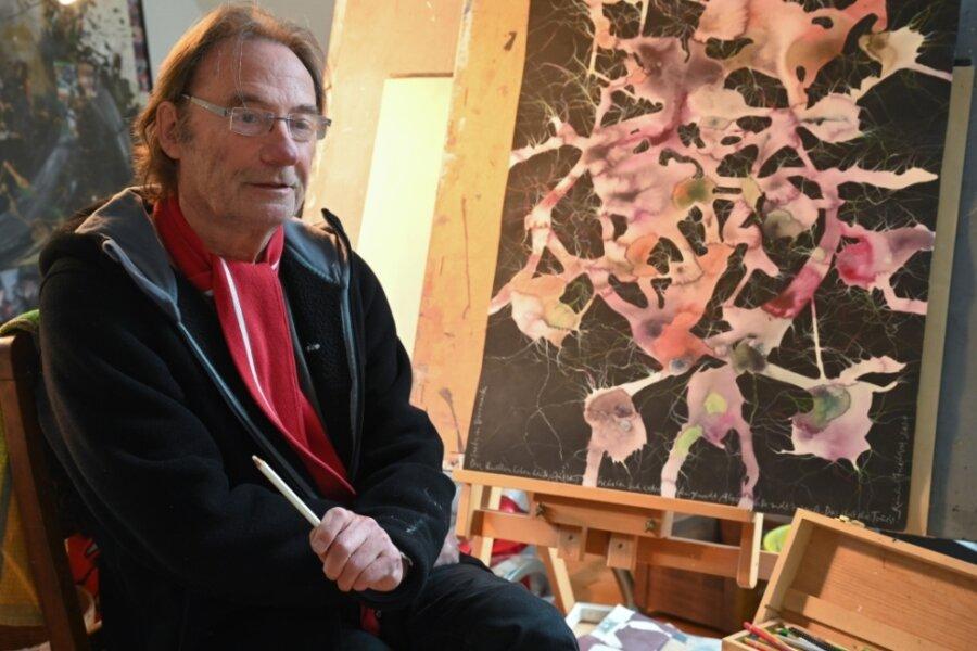 Der Burkhardtsdorfer Künstler Raimund Friedrich in seinem Atelier.