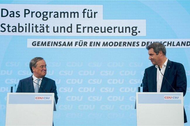 Wollen mit klaren Rollen an einem Strang ziehen: Armin Laschet, CDU-Kanzlerkandidat, und Bayerns Ministerpräsident Markus Söder.