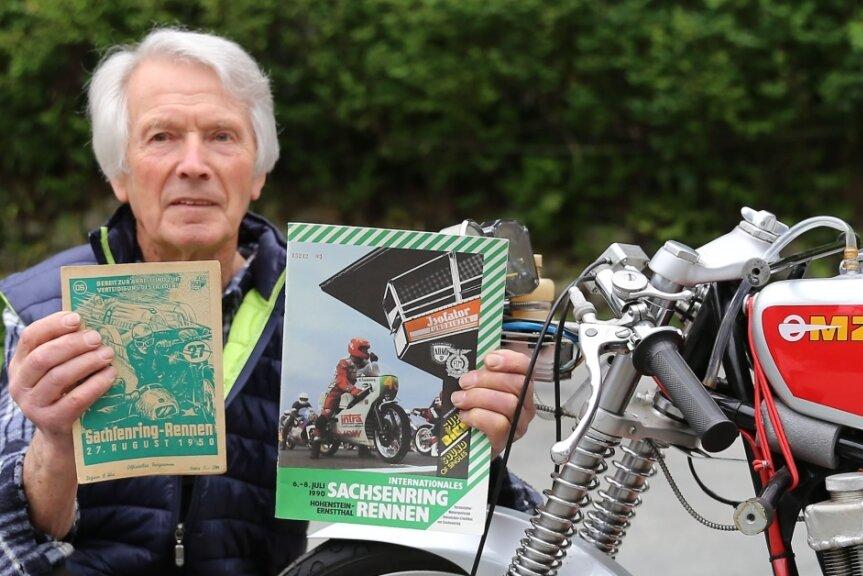 Klaus Pellert ist seit 70 Jahren mit dem Sachsenring eng verbunden, sei es als Zuschauer, Streckenposten, Rennfahrer oder ehrenamtlicher Maschinenabnehmer.
