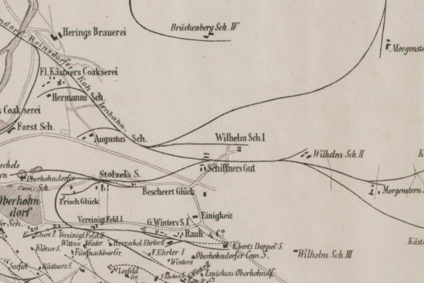 Die Übersichtskarte aus dem Jahre 1887 zeigt das Gleisnetz der ORK. Gestrichelte Linien sind kurz vorher demontierte Gleise. Links unten einige Gleise der Bockwaer Kohlenbahn.