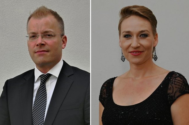 Philipp Ahmann, Dirigent, und Johanna Winkel, Sopranistin.