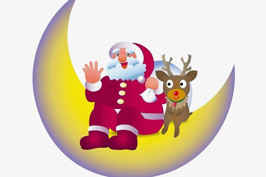 Das rotnasige Rentier Rudolph hilft dem Weihnachtsmann.